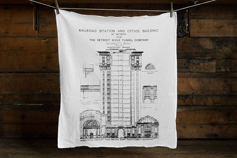 MCS Train Station Flour Sack Towel, Detroit Blueprint, by Well Done Goods