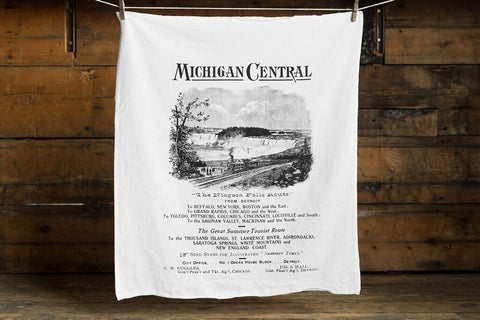 Michigan Central Railroad Egyptian Cotton Flour Sack Towel, Vintage Train Print, by Well Done Goods