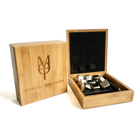 MOT Stainless Steel Whiskey Stone Set, in Bamboo Case