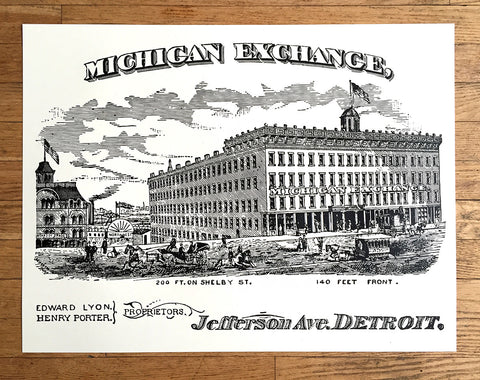 "Michigan Exchange Building Silkscreened Poster, 25""x 19"""