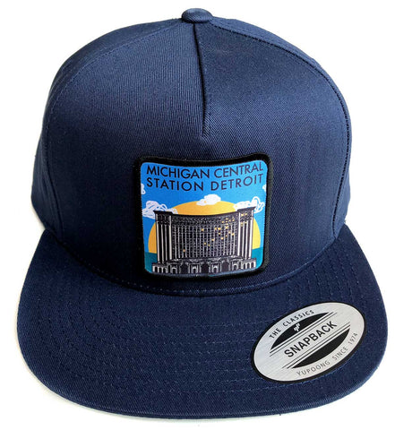 Michigan Central Station Detroit Snapback Cap, Navy Blue. Well Done Goods