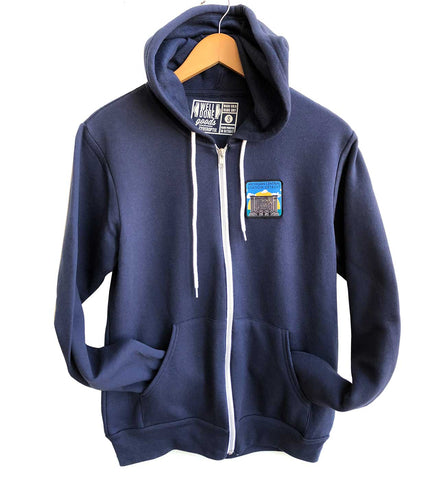Michigan Central Station Patch Zip Hoodie, Navy Blue. Well Done Goods