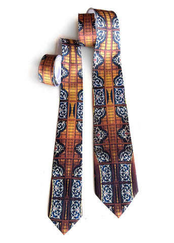 Michigan Opera Theatre Lobby Stained Glass Ceiling Neckties. L: Narrow; R: Standard