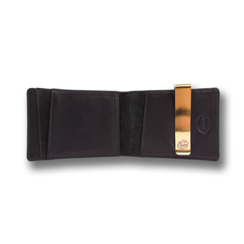 Black Leather Wallet & Gold Money Clip: CONCORD by Orchill