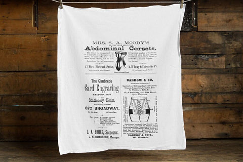 Broadway Corsets and Card Engraving Egyptian Cotton Flour Sack Towel, Vintage NYC Advertising, by Well Done Goods