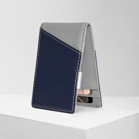 Navy and Stone RFID Money Clip Wallet, by Forrest & Harold