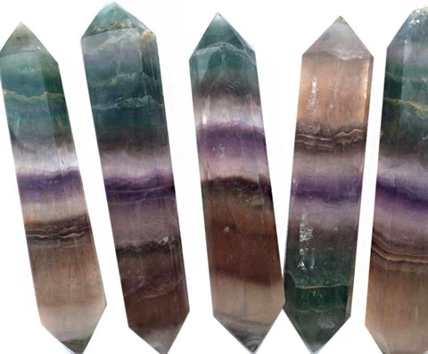 Rainbow Fluorite Crystal Point Wand, Double Terminated