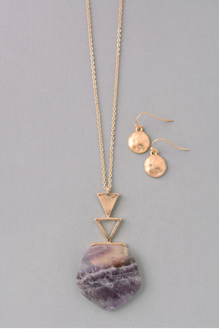 Amethyst Pentagon and Triangle Necklace