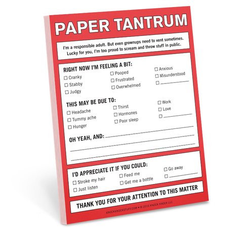 Knock Knock Paper Tantrum Nifty Notes, notepad. Well Done Goods