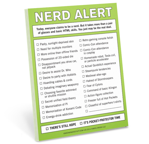 Nerd Alert Nifty Notes, by Knock Knock - at Well Done Goods