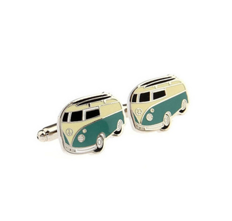 Cream and Turquoise VW Bus Cufflinks, Well Done Goods