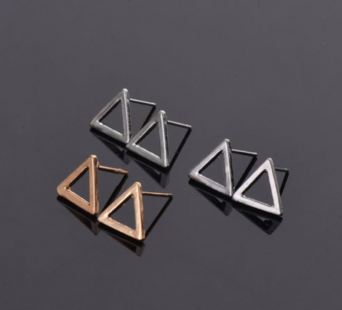 Open Triangle Stud Earrings, Gold or Silver