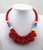 Rainbow Wrap Knotted Rope Statement Necklace, Red. Well Done Goods