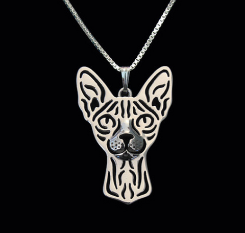 Sphinx Cat Silver Wireframe Necklace, Well Done Goods