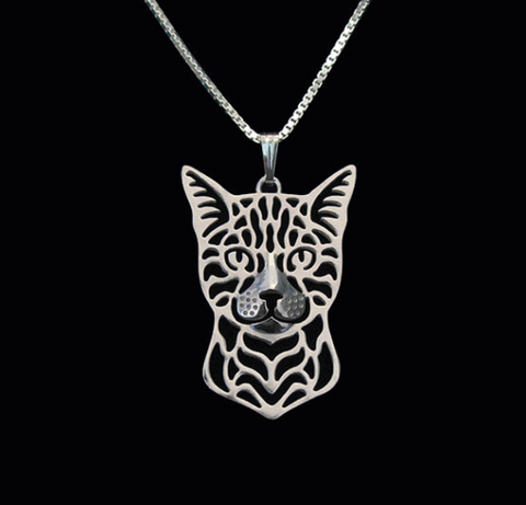 Bengal Cat Silver Wireframe Necklace, Well Done Goods