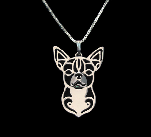 Chihuahua Dog Silver Wireframe Necklace, Well Done Goods