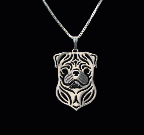 Pug Dog Silver Wireframe Necklace, Well Done Goods