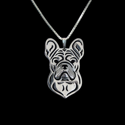 Frenchie Dog Silver Wireframe Necklace, Well Done Goods
