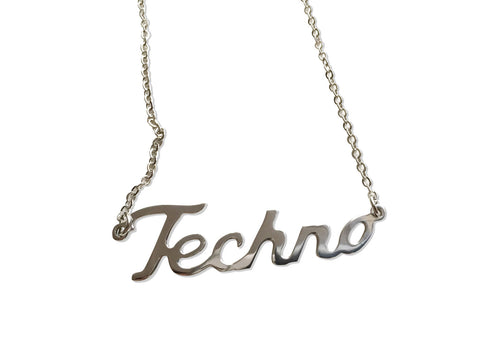 Silver Techno Script Necklace, Music Lover Name Pendant, by Well Done Goods