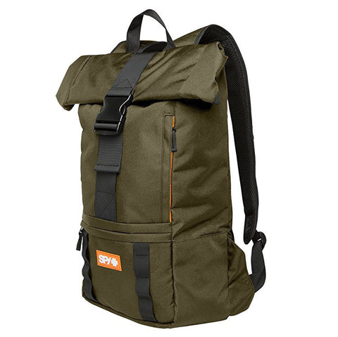 SPY Voyager Roll Top Laptop Backpack, olive. Well Done Goods