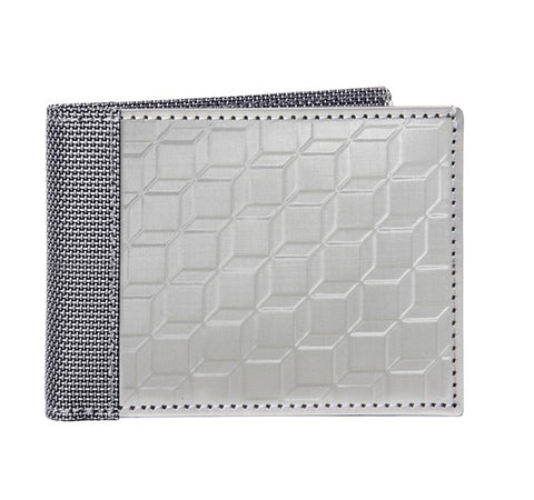 STEWART/STAND RFID Blocking Slim Billfold Wallet. 3D Box, Silver (ID)