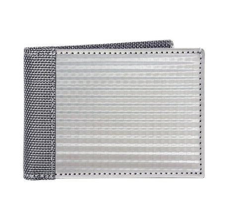 STEWART/STAND RFID Blocking Slim Billfold Wallet. Checkered, Silver (ID)