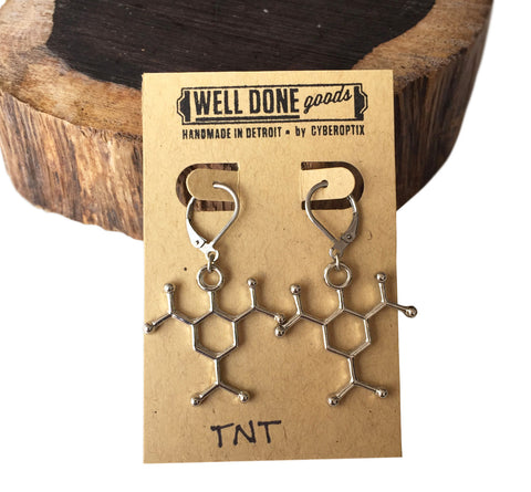 TNT, Trinitoluene Molecule Earrings, Silver. Well Done Goods