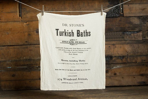 Turkish Baths Cotton Flour Sack Towel, Detroit Advertising Print, by Well Done Goods