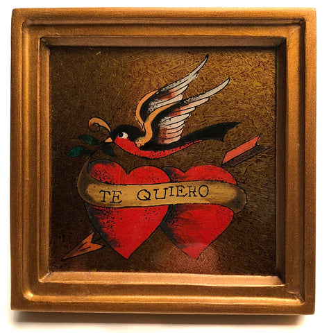 "Hand Painted ""Te Quiero"" (I Love You) Dual heart and bird"