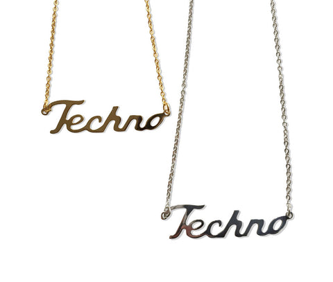Techno Script Necklaces, Music Lover Name Pendant, by Well Done Goods
