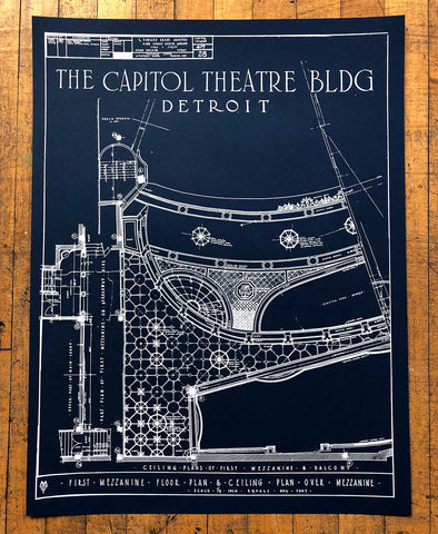 Capitol Theatre Detroit 1921 Blueprint Silkscreen Poster, Navy Blue