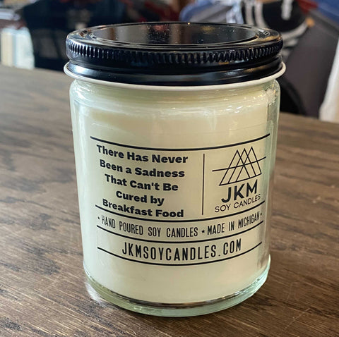 Parks and Rec Candle: There Has Never Been a Sadness That Can't Be Cured by Breakfast Food. JKM Soy Candles - Large 9oz Size