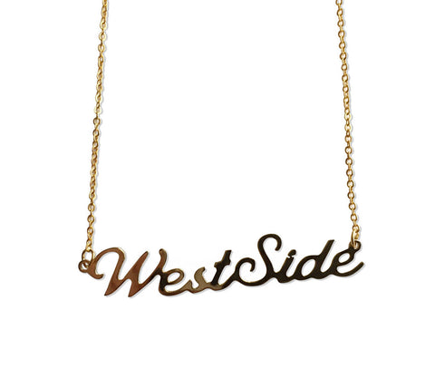 West Side Script Necklace, gold. Detroit Neighborhood Name Pendant, by Well Done Goods