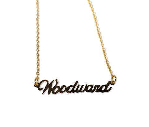 Gold Woodward Avenue Script Necklace. Detroit Neighborhood, well done goods by Cyberoptix