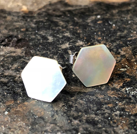Abalone Stud Earrings, mother of pearl hexagon studs