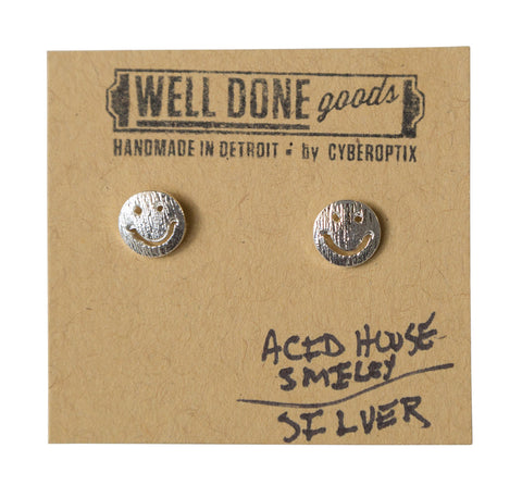 Acid House Smiley Silver Stud Earrings, Well Done Goods