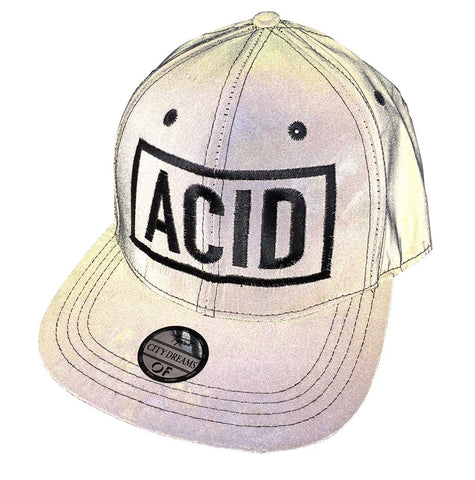ACID Hat with camera flash on. Limited Edition 3d Embroidered Retroreflective Cap, Well Done Goods