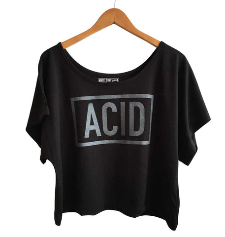 ACID Text Print Black Crop Top, Well Done Goods