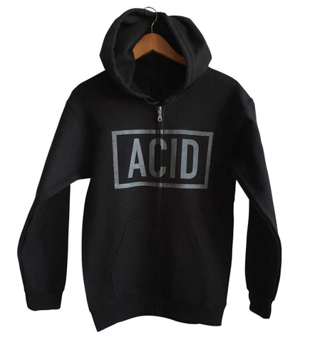 ACID Text Print Black Unisex Zip Up Hoodie, Well Done Goods