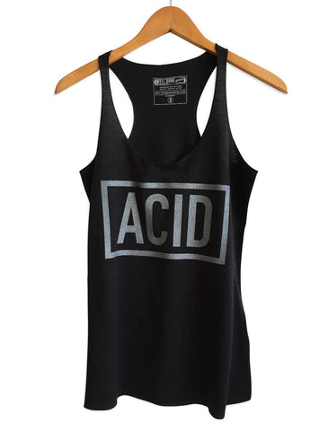 ACID Text Print Women's Black Tank Top, Well Done Goods