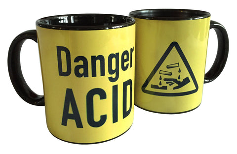 Acid Yellow Warning Label Print Mug, Hazard Symbol Sublimated Coffee Cup, Well Done Goods