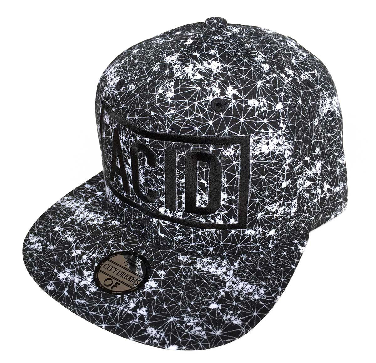 e01a0613c3d ACID Text Hat. Black 3d Embroidered Wireframe Geometric Print Cap