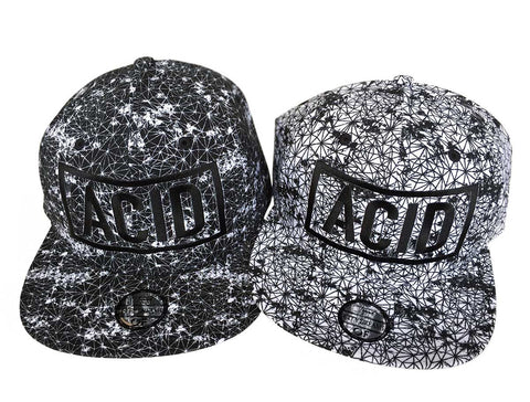 ACID Hats. Black and White 3d Embroidered Wireframe Geometric Print Caps, Well Done Goods