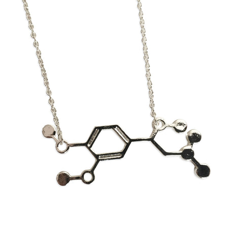 Adrenaline Molecule Pendant Necklace, silver. Well Done Goods