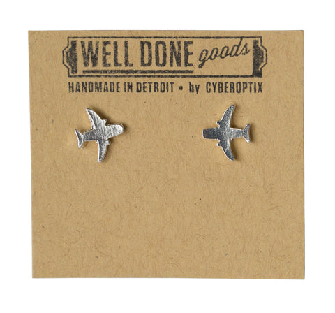 Airplane Silver Stud Earrings, Well Done Goods