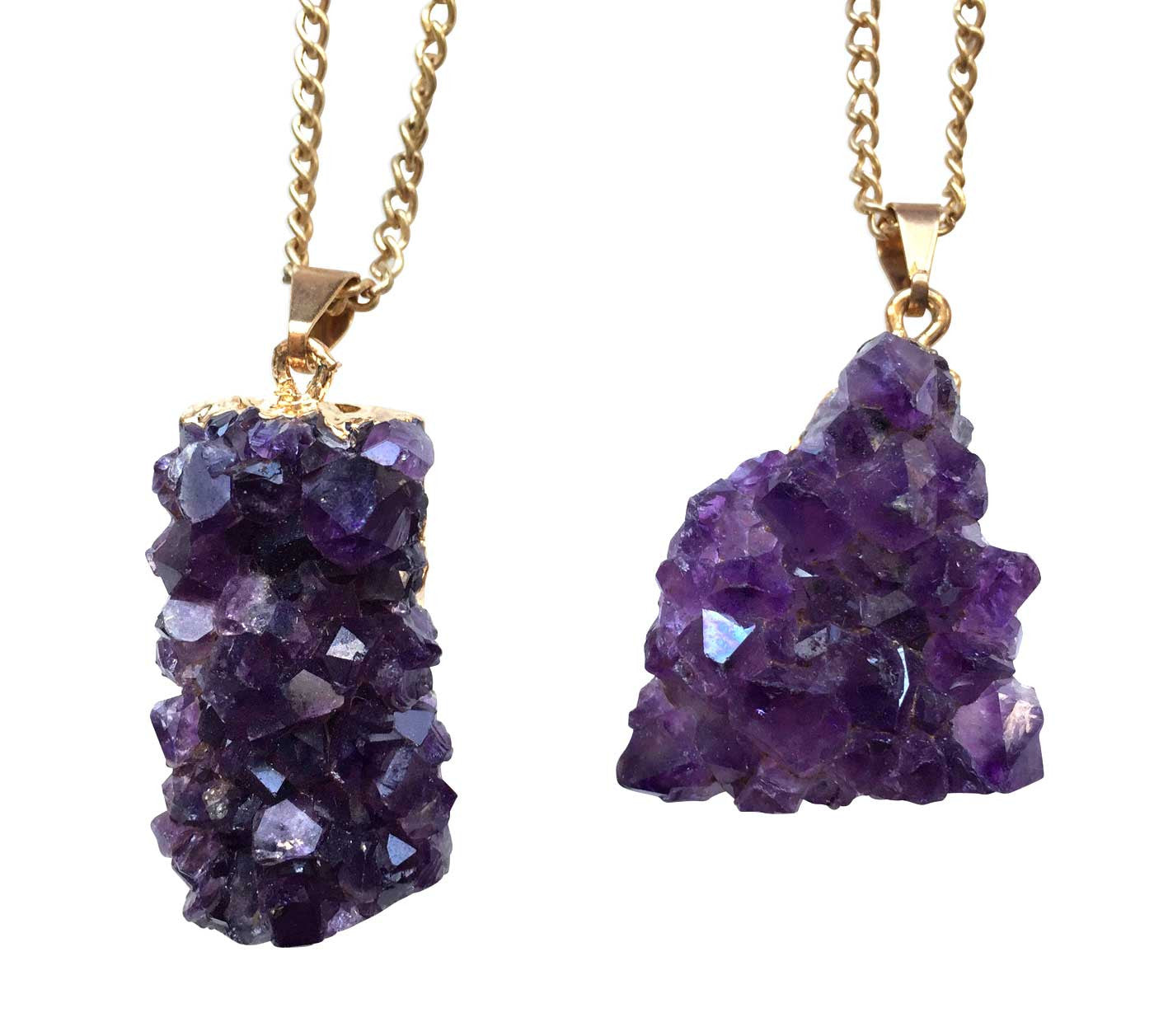 Large amethyst crystal chunk pendant necklace by well done goods aloadofball Image collections