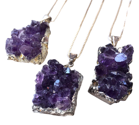 Amethyst Crystal Cluster Pendant, Silver Chain Necklace, by Well Done Goods
