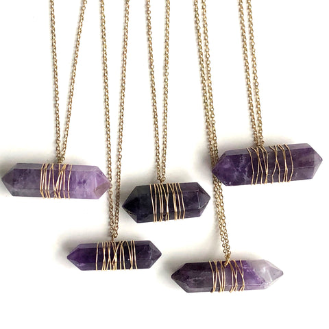 Amethyst Crystal Pendants, Brass Wire Wrapped Stone