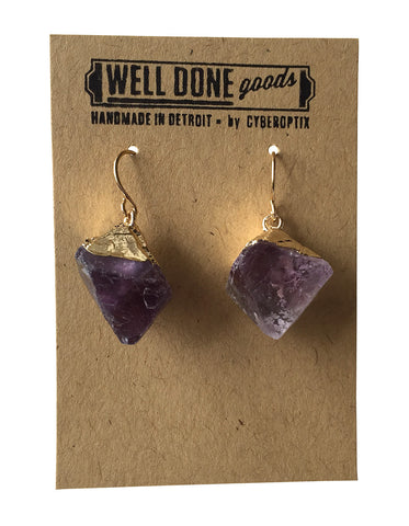 Small Drop Prism Shaped Earrings, Amethyst, by Well Done Goods
