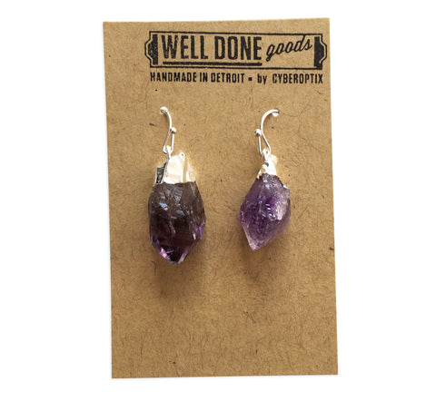 Amethyst Crystal Point Earrings, Well Done Goods